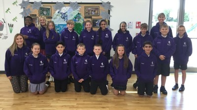 Year 6 get their leavers' hoodies